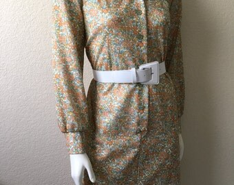 Vintage Women's 70's Floral Dress, Peach, Polyester, Long Sleeve (L)
