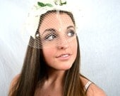 Vintage 1960s White Berry Hat with Netting - Union Made
