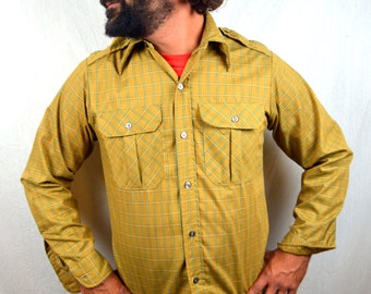 Vintage 60s Eddie Bauer Button Up Plaid Shirt