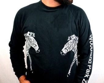 Awesome Vintage 1980s Woodland Park Seattle Zoo Zebra Sweatshirt