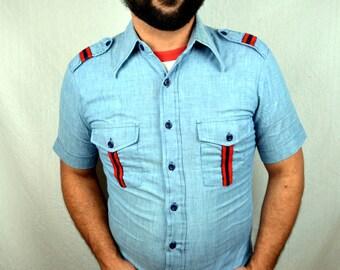 Vintage 1970s Wrangler Chambray Button Up Shirt