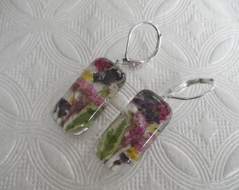 Purple,Yellow,White&Maroon Alyssum,Queen Anne's Lace Pressed Flower Glass Leverback Earrings-Gifts Under 30-Symbol Peace,Worth Beyond Beauty