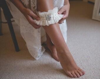 Martha - Ivory Silk Tulle Garter, Ivory Garter, Personalised Garter, Silk Garter, Silver Sixpence Garter, Wedding Garter, Bespoke Garter