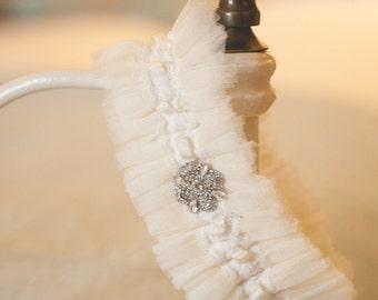 Ivory Silk Tulle Garter - Ivory Garter - Personalised Garter - Silk Garter - Silver Sixpence Garter - Wedding Garter