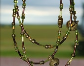 Extra Long Necklace with Vintage BRASS Bells from India Native AMERICAN Made Rosebud Lakota Sioux