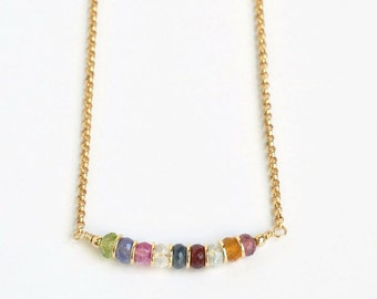 Custom Grandma Necklace / Grandmother Birthstone Necklace / Multi Birthstone Necklace / Mothers Necklace / 16 Inch Gold Fill