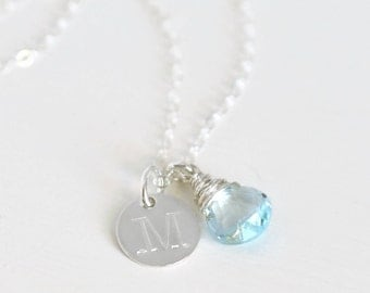 Personalized Initial Necklace / December Birthstone Necklace / Handstamped Necklace / Push Present / Blue Topaz Sterling Silver
