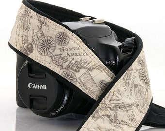 Camera Strap, Old World Map, dSLR, Camera Neck Strap, Canon camera strap, Nikon camera strap, Nautical, Vintage, Men's, Women's, 198a