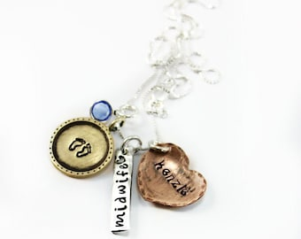 Midwife Necklace Gift, Pregancy Midwife Necklace, Doula personalized necklace, custom pregnancy gift, baby necklace, tagyoureitejewelry