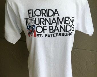 1980s Florida Tournament of Bands vintage tee shirt – white size medium