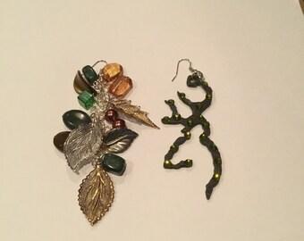 Deer hunter and the Woods duster earrings, unmatching earrings , hunter earrings
