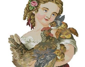 Girl with chickens vintage digital cross stitch pattern or Berlinwork