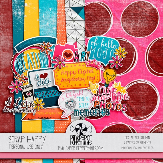 Digital Scrapbooking mini kit, scrapbook theme - National Scrapbook Day, Bright, Happy, Fun & Colorful - Coffee, Camera, and Flower stickers