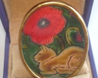 Vintage Jewelry Cat and  Poppy Animal  Brooch