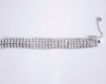 Clear Rhinestone Bracelet With Safety Chain