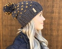 Wool Fair Isle Charcoal Grey & Mustard Gold Slouch Hat w/ Pom Pom Hair Heart Cap Earwarmer Accessory Knit Yellow Fashion Chunky Accessories