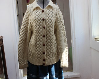 Irish Fisherman's Sweater Cardigan Cable Hand Knit Women's wool Large VINTAGE by Plantdreaming