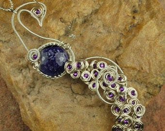 Wire Wrapped Pendant Necklace, Lampwork Necklace, Purple Peacock, Silver Wire #N636