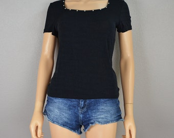 90s Black Tee With Silver Studded Neckline Stretchy T Shirt 90s Clothing Size Small Epsteam
