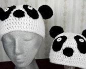 Crochet Panda Hat/Preteen, Toddler by AngelAndFairyDesigns on Etsy.com