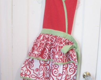Apron, Layered Skirt, Red and Green, Full Apron, Hostess Apron, Gathered Skirt, Cottage Charm, by mailordervintage on etsy