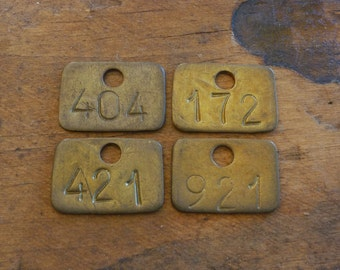 SMaLLer Brass Tags, Rectangle Numbered Basket Library Drawer ID Tags 172 404 421 921