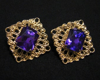 Vintage Gold Tone Filigree Square and Purple Diamond Rhinestone Pierced Earrings