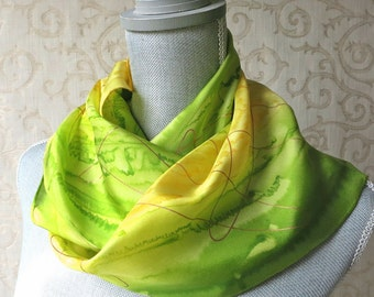 Hand Painted Silk Scarf in Lime and Yellow with Gold Accent