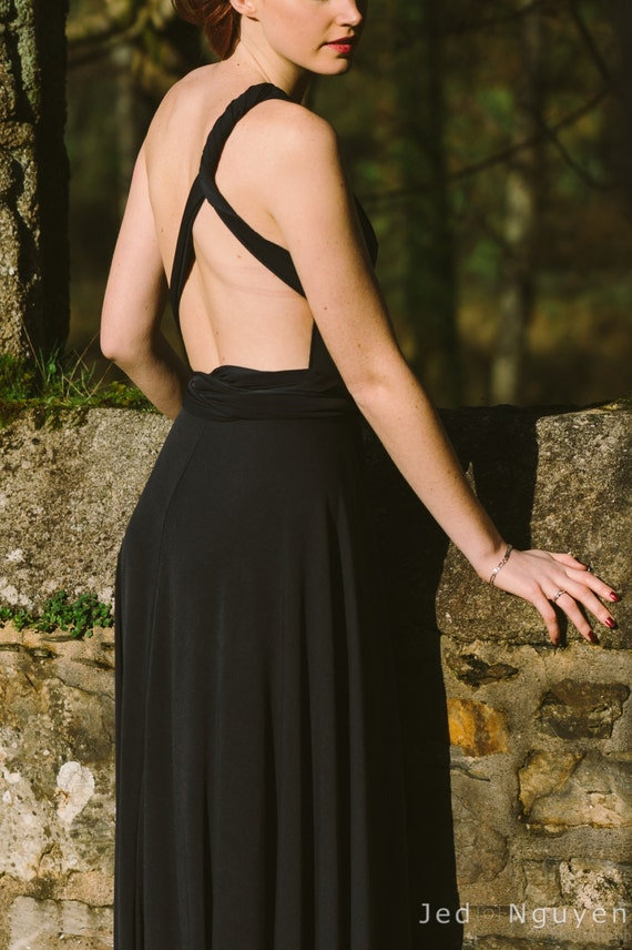 Black maxi dress, infinity long dress, black gown, party wrap dress, elegant event versatile dress, infinity long dresses, evening dresses