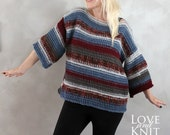 Hand Knitted Pink Blue Burgundy Grey Sweater Handmade Pullover Colorful Striped Sweater Winter Sweater One of a kind Knit Sweater