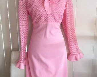Vintage 1970's Pretty in Pink Boho Maxi Gown -- Size XL -- Retro