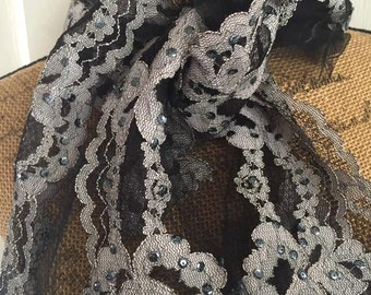 Beautiful vintage 50's era Black and Gray Lace Scarf with Sequins