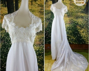 GORGEOUS Vintage 60s Flower Child Lace Floral Wedding Gown Dress!