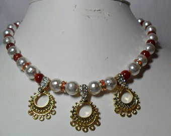 Fire and Ice - Faceted Pearls, Carnelian and Filigree Drops Necklace  (5/2016)