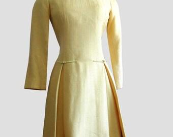 Goldenrod Mod Vintage 60s Designer Georgette Trilere Drop Waist Dress 34 bust M 1960s