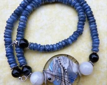 Beadartaustria Designer necklace  with unique lampwork glass bead, shimmering blue kyanite, OOAK