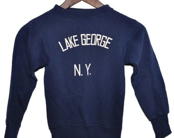 Vintage 60s 70s LAKE GEORGE New York NY Blue Crewneck Sweatshirt Youth Boys Size