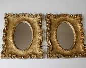 Vintage Gold Framed Oval Wall Mirror Boho Accent Mirror Decorative Mirror Wall Decor 1970s Buy 1 or 2