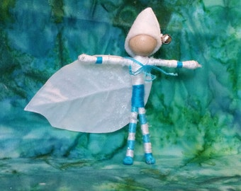 Christmas elf - Jack Frost, Waldorf Flower Fairy doll,  Frost fairy, Father Winter - bendy, art, worry doll, art doll
