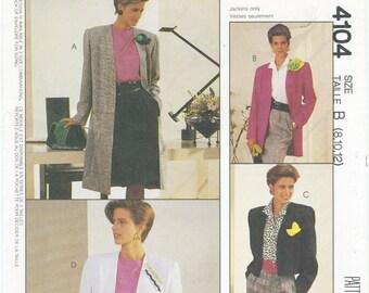 Unlined Coat or Jacket Sewing Pattern Size 8 10 12 McCall's 4104, UNCUT, Long Jacket, Short Jacket, Shoulder Pads, Long or Short Sleeve