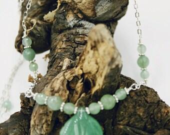 Carved Green Aventurine Leaf Long Necklace