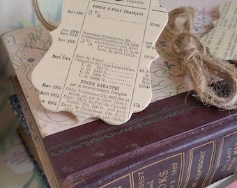 Handmade Gift Tags made with Antique French Paper 1905, Set of 6