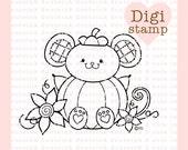 Pumpkin Mouse Digital Stamp - Fall Stamp - Digital Fall Stamp - Mouse Art - Mouse Card Supply - Fall Craft Supply
