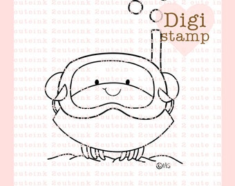 Snorkel Crab Digital Stamp - Crab Digital Stamp - Crab Clip Art - Ocean Art - Summer Card Supply - Summer Craft Supply
