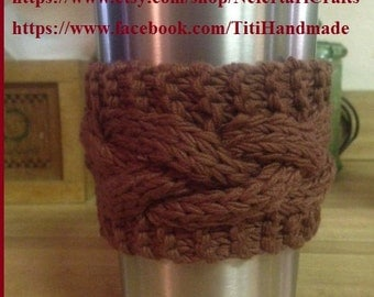 Yeti Traveller Cup Cozy / Hand Knit Cable Cozy / Monogrammed Cup Cozy Sleeve / Crochet flower / B-day gift / Military Cup