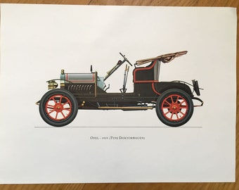 OPEL 1909 - classic car print - original vintage lithograph printed in the 1960's - collectable automobile - antique restored autos