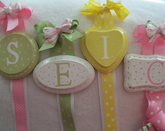 Initial  S, E, I or C  Personalized Hair Ribbon Hanger