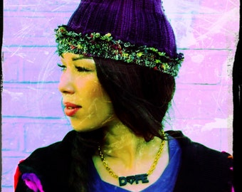 Purple Wool Mixed Upcycled Recycled Beani Hat