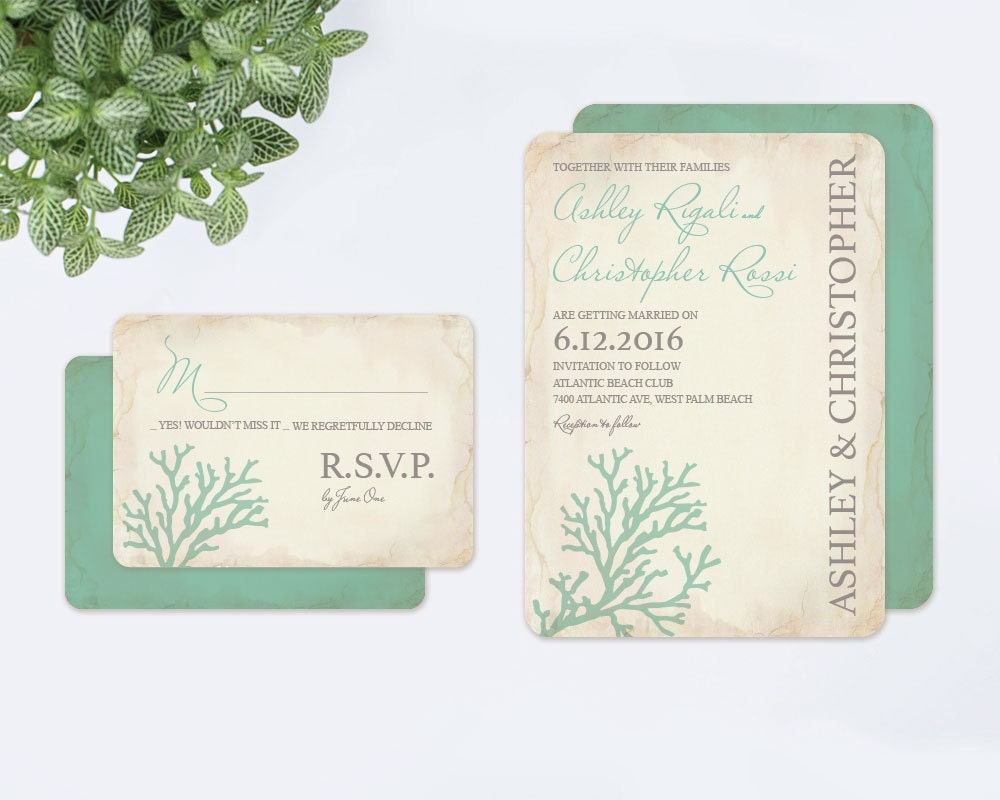 When To Send Out Wedding Invitations For Destination Wedding: Beach Wedding Invitation Announcement Destination Wedding