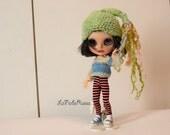 pink Crochet Blythe doll elf Hat ponytails, waldorf doll Hat soft hand dyed merino, Infant Hat Baby, Crochet Hat, Baby pink  Cap